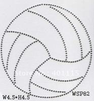 WSP82,Volley ball rhinestone design,Free shipping,30pcs/Lot