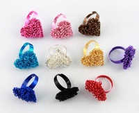 FREE POSTAGE   8PCS Mixed colours Heart alloy metal Rings #20981