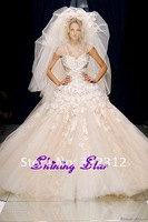 2013 Zuhair Murad Couture High Fashion Sweetheart Handmade Beaded Lace Flowers Crystals Beautiful Wedding Dress Bridal Gown