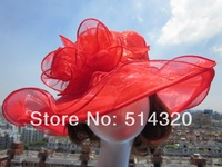 A002 Red women Organza Hat Kentucky Derby Wedding Church Party Floral Hat