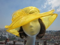 A002  Yellow Ladies Organza Kentucky Derby Wedding Church Party Floral sun Hat cap