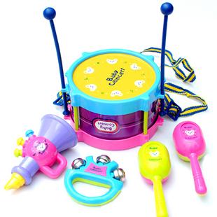 Child musical instrument joy drum 5 piece set combination drum sand hammer handbarrows horn+Free shipping