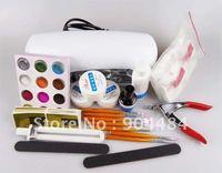 Fashion Beauty Nail Kit Glitter Powder Tips Builder Gel 9W UV Lamp Nail Set With Free Gift +nailglue decoration Freeshipping 366