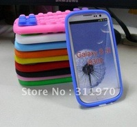 Silicone building block case/cover For Samsung galaxy s3 siii i9300 ,20pcs/lot