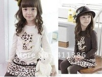 5sets/lot 2012 new autumn children's clothes set girls's fashion suits cat t-shirt+leopard skirt pants baby clothing set