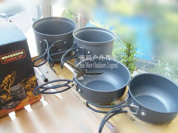 30/lot Free Shipping Camping Cookware Set Backpacking Cooking Pot Cookout pot Picnic cooking set +wholesale(China (Mainland))