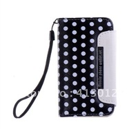 2in1 Polka Dot Wallet ID Credit Card Leather Case + Detachable Back Cover For iphone 4 4S 5PCS/lot
