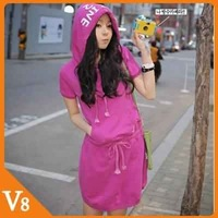 V8 / Free Shipping! / 2012 New / Spring,summer,fall / Women waist Slim short-sleeved dress with a hat / V-8030