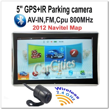 "5"" GPS Navigator+2.4GHz universal wireless parking camera 2012 Navitel Map 4G Memory DUN Bluetooth AV-IN SiRF-V 800MHz 800*480"