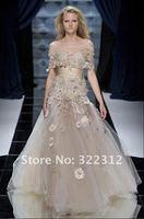 Zuhair Murad Dress Couture 2013 Elegant Champagne Handmade Flower Fashion Floor Length Zuhair Murad Prom Ball Dress Evening Gown
