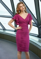 M21320 Free Shipping New Arrival v-neck draped sheath column purple color knee-length Mother Of The Bride Or Mother Bride