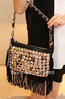 wholesale shiny button rock black beige day evening bag clutch shoulder bag  Handbag  vintage Designer Lady Fashion nice cool