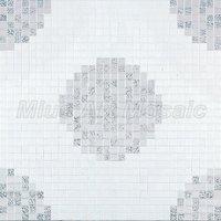 [Mius Art Mosaic] Pure  White & silver mix color Glass art mosaic tile  puzzle  for art wall decoration KL070