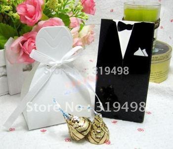 Free Shipping(40pcs/lot ) TUXEDO DRESS bridegroom bride candy Box  Wedding Christmas Decorationbanquet box