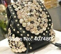 shiny button rock black beige day evening bagshoulder bag  Handbag  vintage Designer Lady Fashion nice CN post