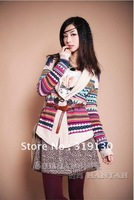 Free shipping 2012 Autumn /  Winte Ethnic Style Colorful Wool Knitted Sweater ,Long sleeve Cardigan with turnover collar