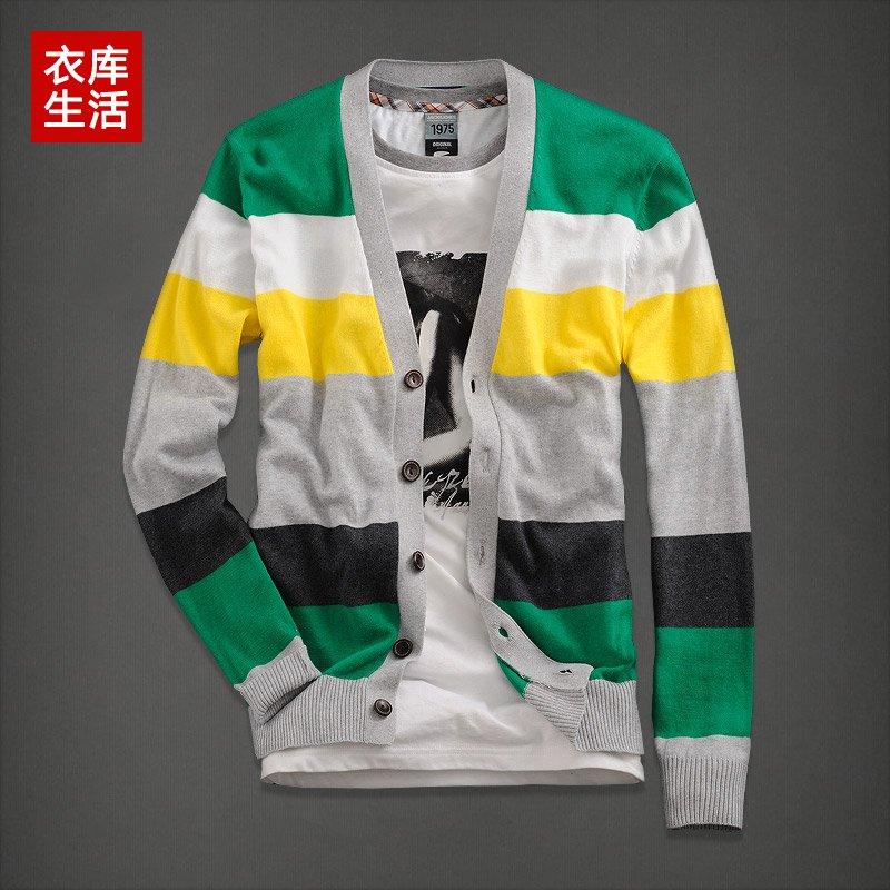 2012 autumn men's clothing cardigan sweater boys preppy style sweater slim color block stripe d001(China (Mainland))