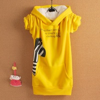 2013 Women's 2013 autumn and winter new arrival cartoon small zebra thickening hooded fleece sweatshirt outerwear