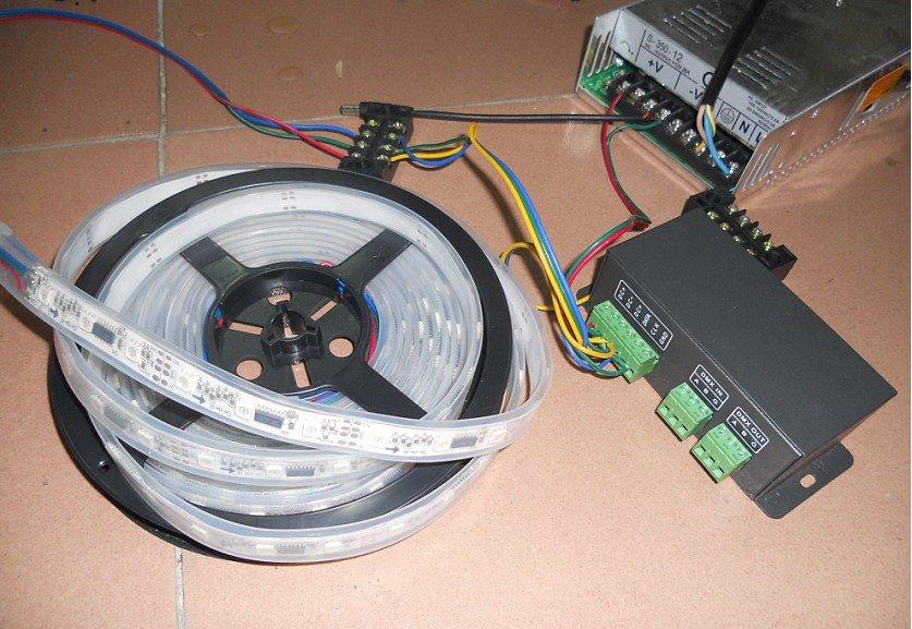 5m 48leds/m TM1809 led dream color strip+LT-DMX-1809 DMX convertor+ power adaptor(China (Mainland))