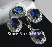 Free shipping zircon diamante Necklace pendant ring earring fashion jewelry set