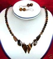 Tibet Tribe jewelry tiger-eye necklace 18'' earrings jewelry set free shipping