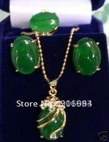 fashion jewelry set green jade pendant ring earring set&free chain free shipping