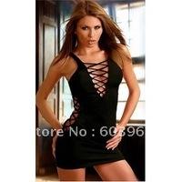 free shipping  Sexy Black Deep-V Mini Dress Clubwear gogodance