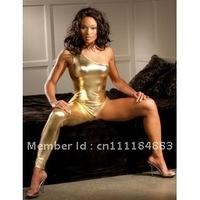 free shipping  Hot Sexy Metallic Gold Catsuit Bodysuit Clubwear Teddy