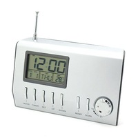 free shipping LCD Digital FM Multifunctional Electronic Thermometer Radio Music Calender Temperature Timer Alarm Snooze Clock