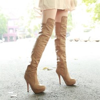 Free Shipping Women 2012 Fashion Sexy PU Slimm Winter High Heel Over-the-Knee Boots /Ladies Apricot Long Boots Size:34-39 L358