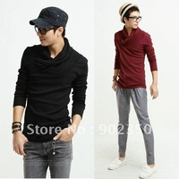 Specisl offer!!Free Shipping 2012 casual Men's slim fit knit wear casual pullover pile of collar Primer shirt 4 color 4 size6503