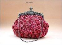 Burgundy Beading Sequined Embroidery Handbag Clutch Wedding Bride Party Evening Bag  Purse Free Shipping 03162v