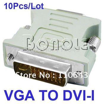 Holiday Sale! Cheapest 10Pcs/Lot DVI to VGA Cable,DVI DVI-I (M) To VGA (F) Video Converter/Adapter  1024