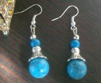 12MM/Blue beads  Asia Tibetan Silver antique exotic High fashion drop pendant earring Women/Tibetan silver turquoise earrings
