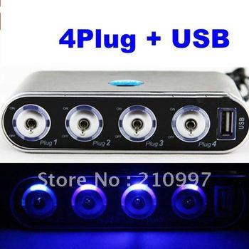 New Arrival+ New 4 Way Car Cigarette Lighter Socket Splitter DC 12V + USB + LED Light Control +Free Shipping