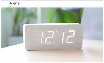 White Rectangular Wooden Clock Alarm Blue LED Office desk Wood Digital withTemperature
