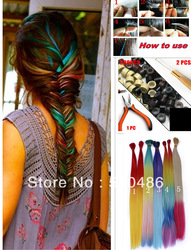 "20pcs/lot 16"" Long 5 Colors Available Rainbow Feather Hair Extensions 200 Beads + 1Hooked Needles+1 plier kit(China (Mainland))"