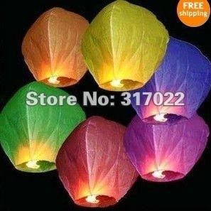 Hotsale 25pcs/lot Kongmingdeng Chinese Fay Balloon Wishing Lamp Paper Sky Candle Xmas Wedding Flying Party Lanterns