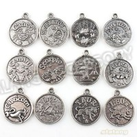 72pcs/lot  Round Charms  New Assorted Constellation Signs of Zodiac Vintage Silvery  Pendant Fit Jewelery and Necklace 143072