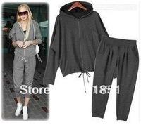 Free Shipping Autumn/Winter Women's Sportswear Cotton 2014 Casual Female Jacket Sport Suit Long-Sleeve Coat Large Size L-XXXL