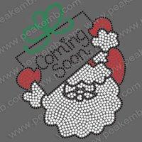 Free Shipping 30pcs/Lot  Beautiful Christmas Santa Coming Soon Motif Hot Fix Rhinestone Heat Transfer Design Iron On  Motifs