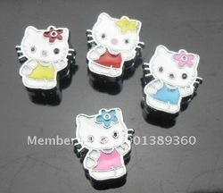 50pcs 8mm mix color hello kitty slide charms fit 8mm wristband bracelet free shipping(China (Mainland))