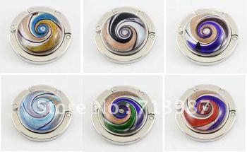 6pcs wholesale lots mix  fashion lampwork art muano foldable glass Pures Hook holder bag Hanger  BG025-BG030