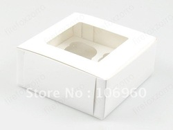 wholesale white cupcake box 4 muffin paper craft gift bag for christmas wedding birthday free shipping(China (Mainland))