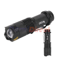 Free shipping 7W 300LM Mini CREE Q5 LED Flashlight Torch Adjustable Focus Zoom Light Lamps