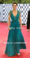 Free shipping   Hot sale V Neck Sheath Celebrity Dresses Anke length Chiffon Lace  Beaded  Open back   Princess  Kate