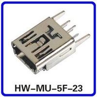 Mini USB Female 5Pin Socket Connector vertical Legs HW-MU-5F-23