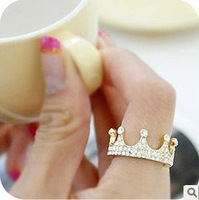 Min.order is $5 (mix order)Free Shipping,Korean Fashion Ring,Imitation Diamond Crown Rings(OD0031)