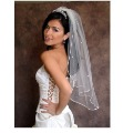 White CRYSTAL RHINESTONE Satin Cord Trim Bridal Wedding Veil