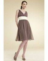 C6463 Free Shipping new arrival v-neck empire chiffon a-Line brown color knee-length Custom Made party dresses